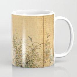 Japanese Edo Period Six-Panel Gold Leaf Screen - Spring and Autumn Flowers Coffee Mug