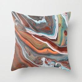 Geode Marble Brown Blue Fluid Modern Art Throw Pillow