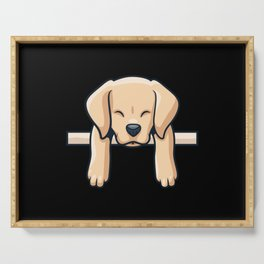 Cute Labrador dog puppy retro gift Serving Tray