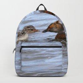 Watercolor Bird, Horned Grebe 02, Lake Myvatn, Iceland Backpack