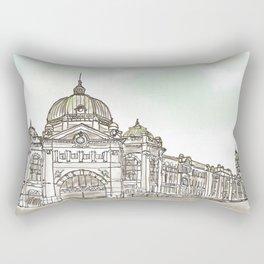Flinders Street Railway Station under Cloudy Sky Rectangular Pillow