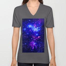 Fox Fur Nebula Galaxy blue purple Unisex V-Ausschnitt