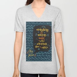 Everybody--even monsters--needed a little attention once in a while. Percy Jackson Unisex V-Neck