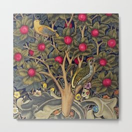 William Morris Woodpecker, Fruit Tree & Poppy Flower Garden Tapestry Textile Floral Print Metal Print