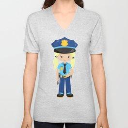 Cute Girl, Police Girl, Blonde Hair, Police Uniform Unisex V-Neck
