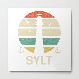 Sylt Beacon Vacation TShirt North Sea Shirt Nordsee Gift Idea  Metal Print