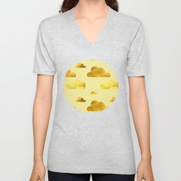 Gold clouds yellow Unisex V-Neck