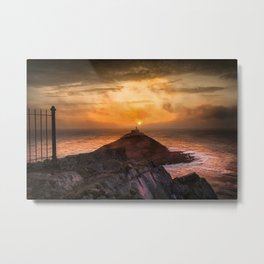 Sunrise at Mumbles lighthouse Metal Print