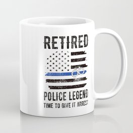 Retired Police Officer Retirement Thin Blue Line Coffee Mug