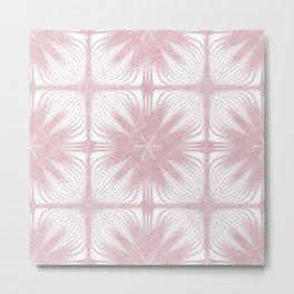 Nappy Faux Velvet Exotic Flower Petal in Pink Large Metal Print