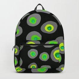 Spots on Dots Acid Green-Gray on Black Backpack