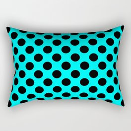 Polka dots pattern, classic design, retro style, azure blue and black geometric figures, stylish sym Rectangular Pillow