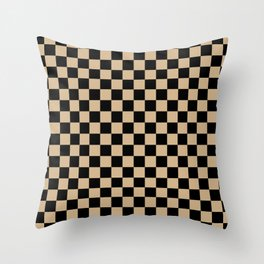 Black and Tan Brown Checkerboard Throw Pillow