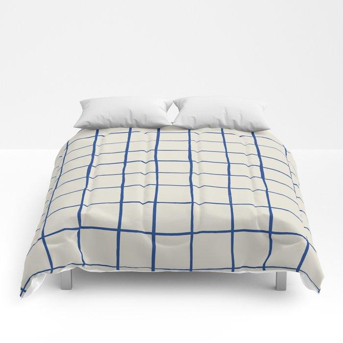 BASIC   Criss Cross Blue Comforters