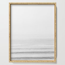 Washed Out Ocean Waves B&W // California Beach Surf Horizon Summer Sunrise Abstract Photograph Vibes Serving Tray