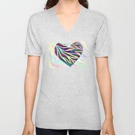Rainbow Zebra Print Heart! Unisex V-Neck