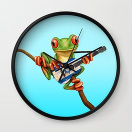 Tree Frog Playing Acoustic Guitar with Flag of Israel Wall Clock
