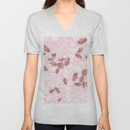 Chic Blush Pink White Rose Gold Butterfly Floral Unisex V-Neck