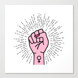 Feminist hand with female symbol Canvas Print