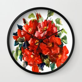 Bright Red French Garden Roses Wall Clock