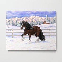 Beautiful Brown & White Bay Gypsy Vanner Draft Horse In Snow Metal Print