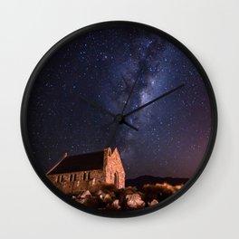 Lake Tekapo, New Zealand Night Sky Wall Clock