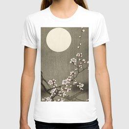 Blossoming plum tree at full moon  - Vintage Japanese Woodblock Print Art T-shirt