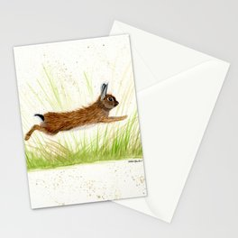 Leaping Rabbit - animal watercolor painting Stationery Cards