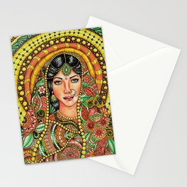 Beautiful indian woman portrait in zen style Stationery Cards