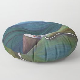 Cliff House - Hawaii landscape coastal seashore painting by Marguerite Blasingame Floor Pillow