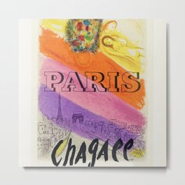 Paris, France Vintage Marc Chagall Art Show Mourlot Exhibition Advertisement Vintage Poster Metal Print