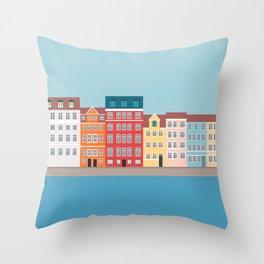Nyhavn, Copenhagen, Denmark - South Throw Pillow