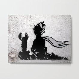 The little prince and the fox - stencil for the LIFE CURRENT WALL series Metal Print