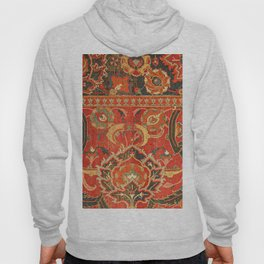 Red Arabic Rug I // 17th Century Colorful Firey Red Light Teal Sapphire Navy Blue Ornate Pattern Hoody