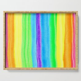 Neon Rainbow Stripes Serving Tray