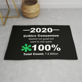 Humorous 2020 Review Rotten Tomatoes Score From World Population White Lettering Rug