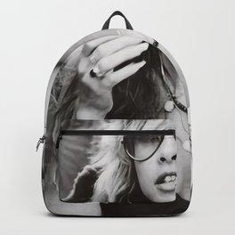 Stevie Nicks Young Black and white Retro Silk Poster Frameless Backpack