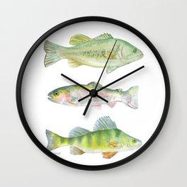 Fishing Watercolor Painting Wall Clock