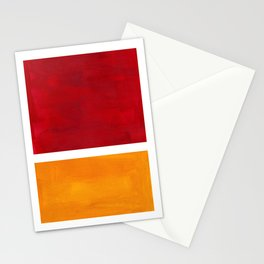 Burnt Red Yellow Ochre Mid Century Modern Abstract Minimalist Rothko Color Field Squares Stationery Cards