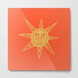 Cheerful Happy Sunshine Numero 1 Red Metal Print