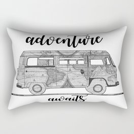 adventure awaits world map design Rectangular Pillow
