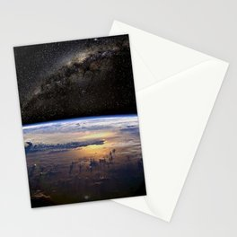Space Station view of Planet Earth & Milky Way Galaxy Stationery Cards