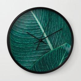 Green Tropical Leaves No1 Wall Clock