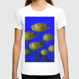 IVORY WHITE LONG STEMMED ROSES ON BLUE T-shirt