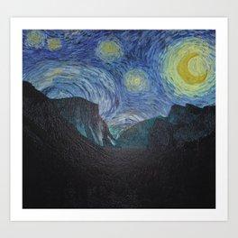 Vincent Van Gogh's Starry Night Over Yosemite National Park Landscape Art Print
