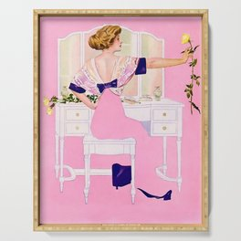 """Coles Phillips 'Fadeaway Girl' Illustration """"The Yellow Rose"""" Serving Tray"""
