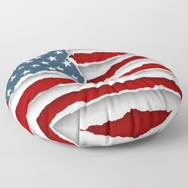 design flag united states of america from torn papers with shadows Floor Pillow