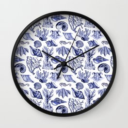 Vintage Nautical Illustrations in Blue Ink Wall Clock