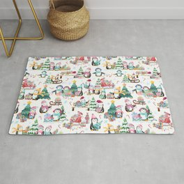 Winter Watercolor Holiday Penguins Rug