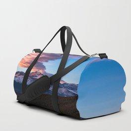 Fire on the Mountain - Sunrise Illuminates Cloud Over Longs Peak in Colorado Duffle Bag